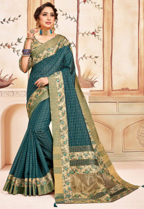 Woven Cotton Saree in Teal Blue