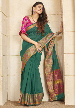 Woven Cotton Saree in Teal Green