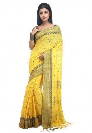 Woven Cotton Saree in Yellow