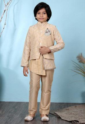 Woven Cotton Silk Asymmetric Kurta Jacket Set in Beige