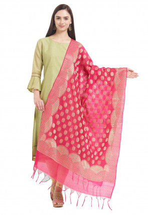 Woven Cotton Silk Dupatta in Fuchsia