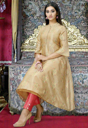 Woven Cotton Silk Jacquard A Line Kurta in Beige