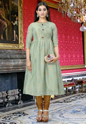 Woven Cotton Silk Jacquard A Line Kurta in Dusty Green