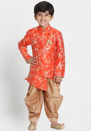Woven Cotton Silk Jacquard Asymmetric Dhoti Sherwani in Orange