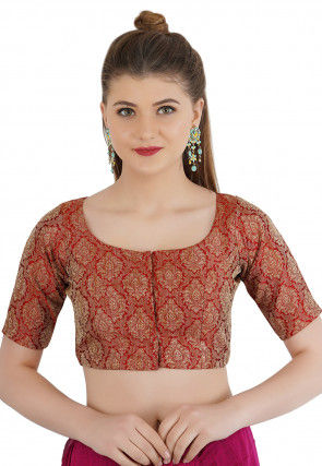 Woven Cotton Silk Jacquard Blouse in Maroon