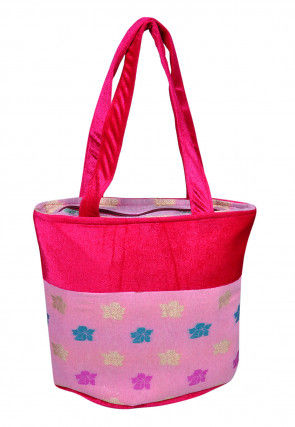 Woven Cotton Silk Jacquard Hand Bag in Pink