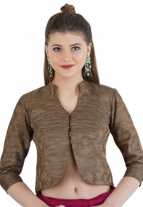 Woven Cotton Silk Jacquard Jacket Style Blouse in Brown