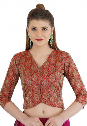 Woven Cotton Silk Jacquard Jacket Style Blouse in Maroon