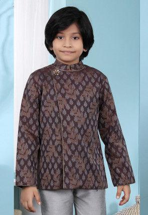 Woven Cotton Silk Jacquard Jodhpuri Jacket in Brown