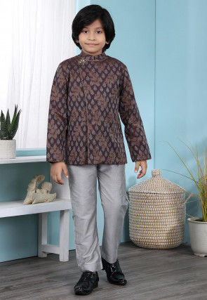 Woven Cotton Silk Jacquard Jodhpuri Suit in Brown
