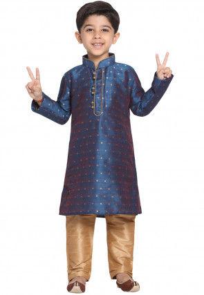 Woven Cotton Silk Jacquard Kurta Set in Dark Blue