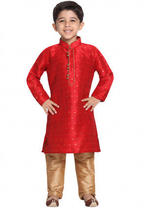 Woven Cotton Silk Jacquard Kurta Set in Red