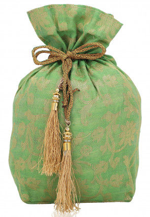 Woven Cotton Silk Jacquard Potli Bag in Light Green