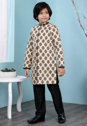 Woven Cotton Silk Jacquard Sherwani in Beige