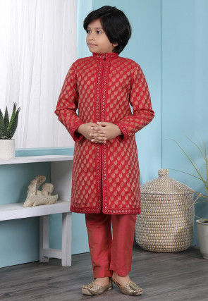 Woven Cotton Silk Jacquard Sherwani in Red