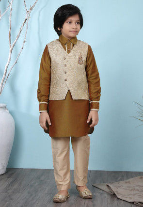 Woven Cotton Silk Kurta Jacket Set in Brown