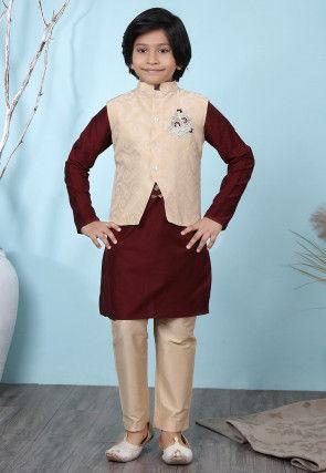 Woven Cotton Silk Kurta Jacket Set in Maroon