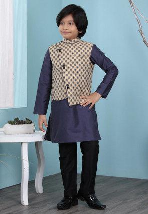 Woven Cotton Silk Kurta Jacket Set in Navy Blue