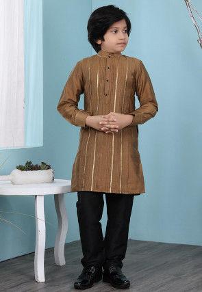 Woven Cotton Silk Kurta Set in Brown