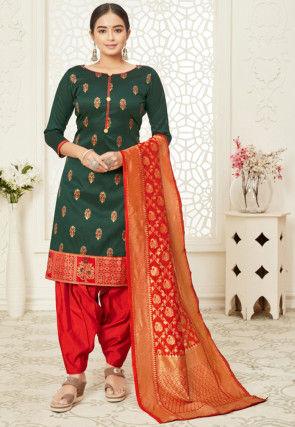 Woven Cotton Silk Punjabi Suit in Dark Green