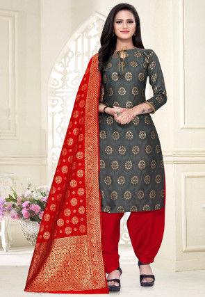 Woven Cotton Silk Punjabi Suit in Grey