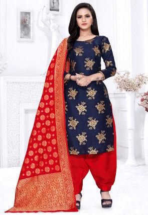 Woven Cotton Silk Punjabi Suit in Navy Blue