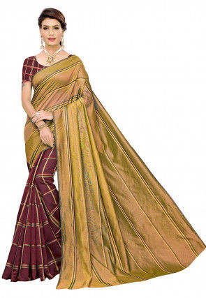 Woven Cotton Silk Saree in Beige and Maroon
