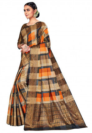 Woven Cotton Silk Saree in Beige and Multicolor