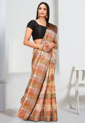 Woven Cotton Silk Saree in Beige and Off White