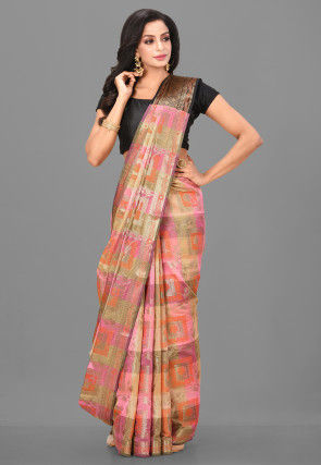 Woven Cotton Silk Saree in Beige and Pink