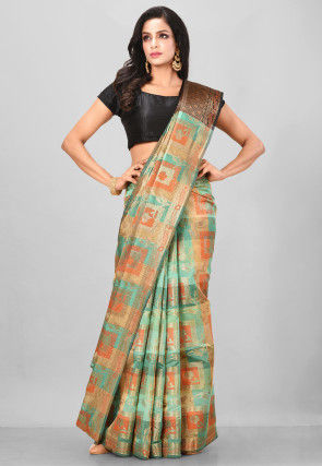 Woven Cotton Silk Saree in Beige and Teal Green