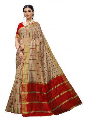 Woven Cotton Silk Saree in Beige