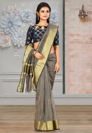 Woven Cotton Silk Saree in Black and Beige