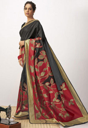 Woven Cotton Silk Saree in Black and Red