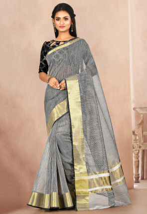 Woven Cotton Silk Saree in Black and White