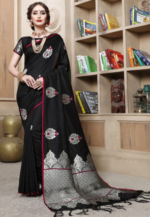 Woven Cotton Silk Saree in Black