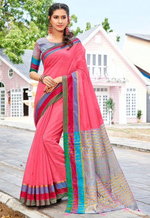 Woven Cotton Silk Saree in Coral Pink