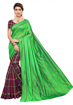 Woven Cotton Silk Saree in Green and Wine