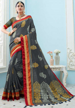 Woven Cotton Silk Saree in Grey