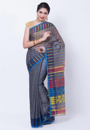 Woven Cotton Silk Saree in Grey