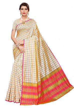Woven Cotton Silk Saree in Light Beige