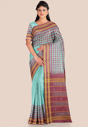 Woven Cotton Silk Saree in Light Teal Green