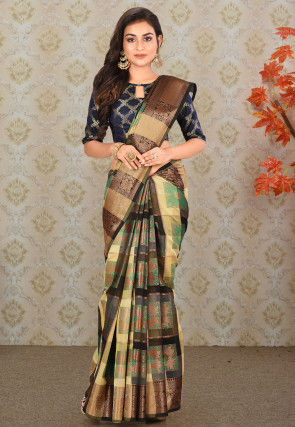 Woven Cotton Silk Saree in Multicolor