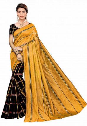 Woven Cotton Silk Saree in Mustard and Black