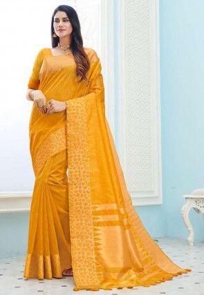 Woven Cotton Silk Saree in Mustard
