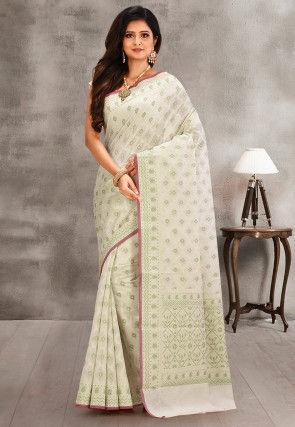 Woven Cotton Silk Saree in Off White