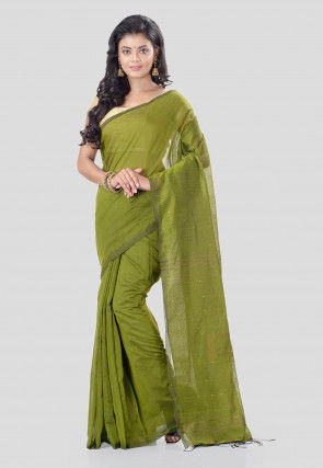 Woven Cotton Silk Saree in Olive Green