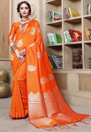 Woven Cotton Silk Saree in Orange