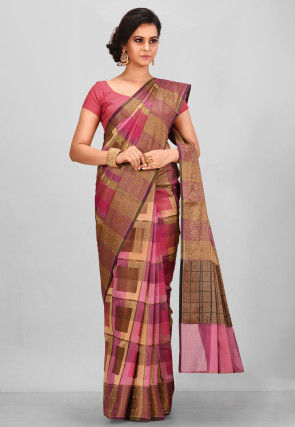 Woven Cotton Silk Saree in Pink and Beige