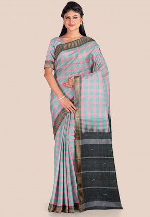 Woven Cotton Silk Saree in Pink and Blue